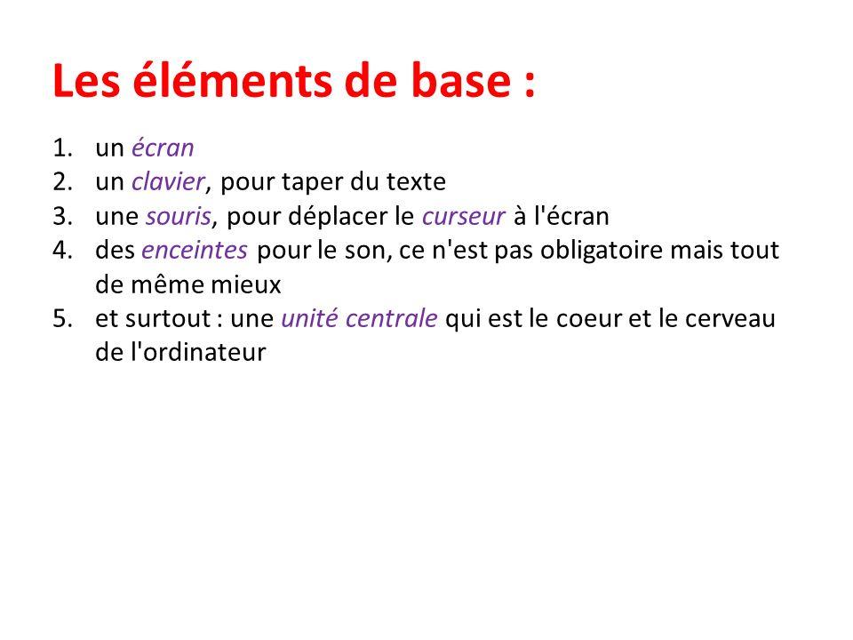 Les éléments de base : un écran un clavier, pour taper du texte