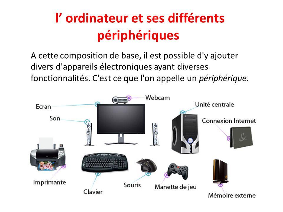 l' ordinateur et ses différents périphériques