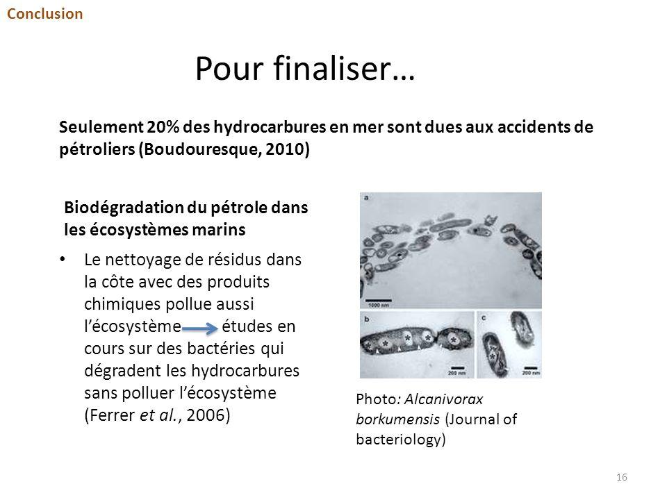 Conclusion Pour finaliser… Seulement 20% des hydrocarbures en mer sont dues aux accidents de pétroliers (Boudouresque, 2010)