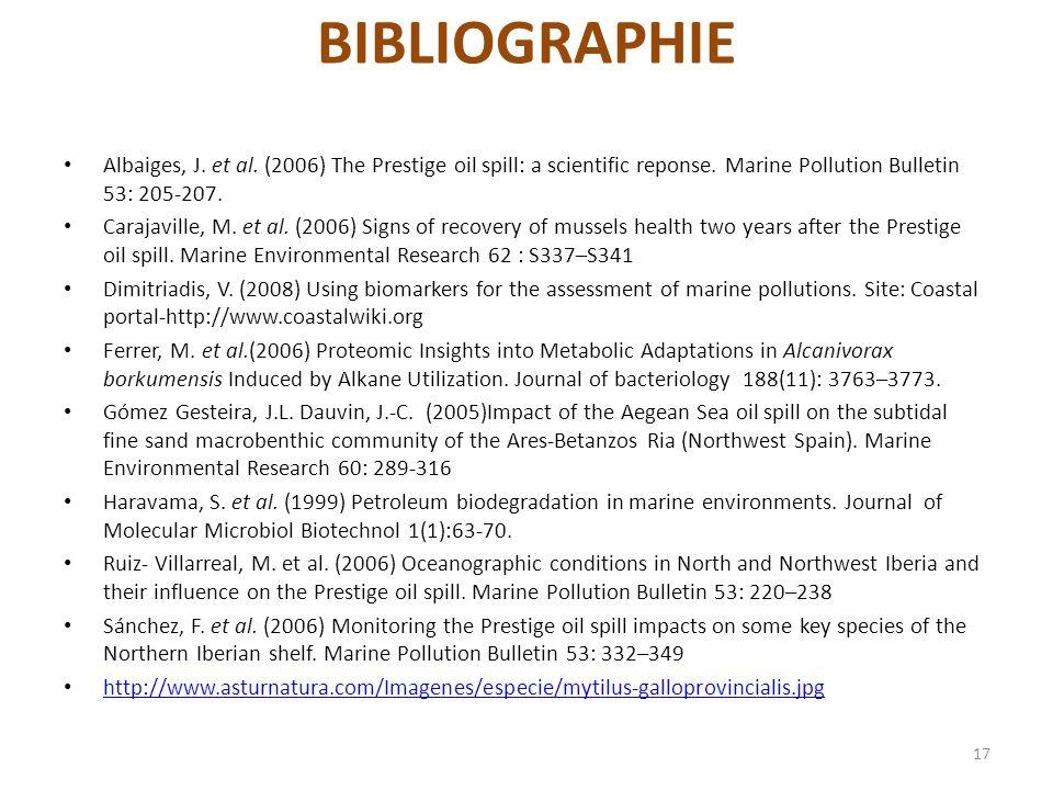 BIBLIOGRAPHIE Albaiges, J. et al. (2006) The Prestige oil spill: a scientific reponse. Marine Pollution Bulletin 53: 205-207.