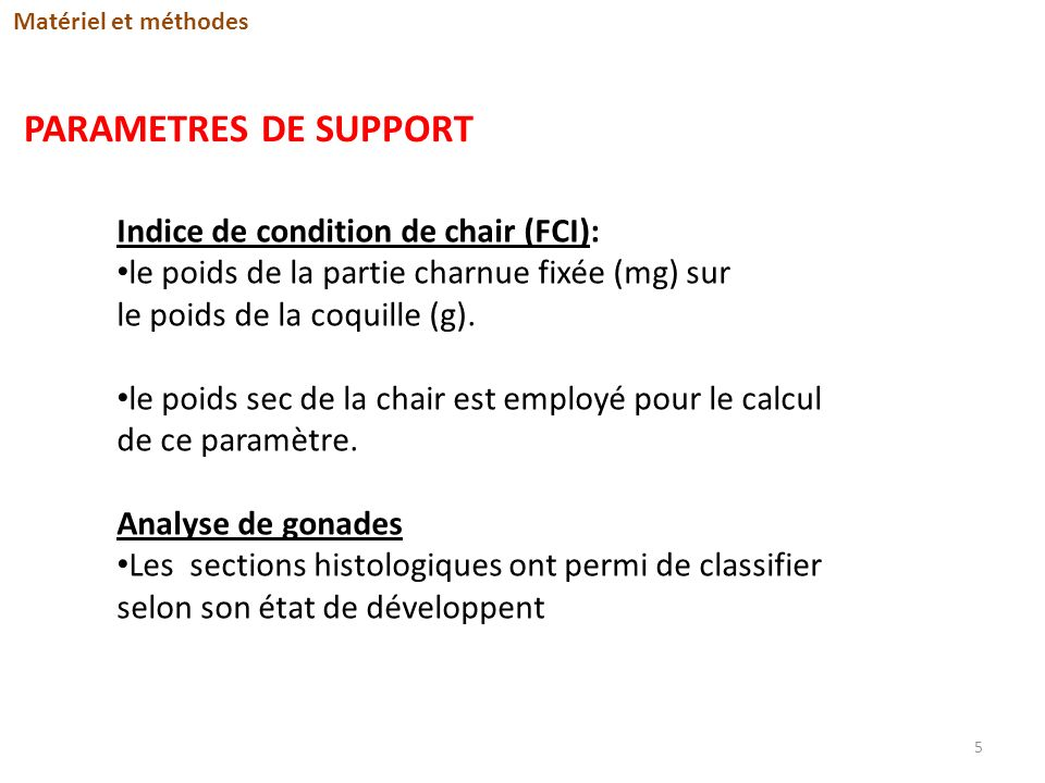 PARAMETRES DE SUPPORT Indice de condition de chair (FCI):