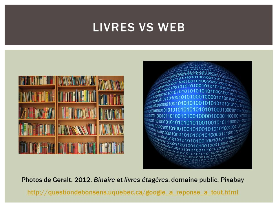 Livres VS web