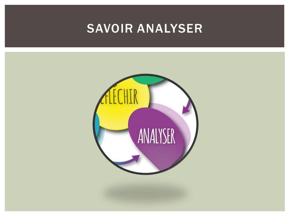 Savoir analyser savoir analyser Lien avec les 5 au quotidien
