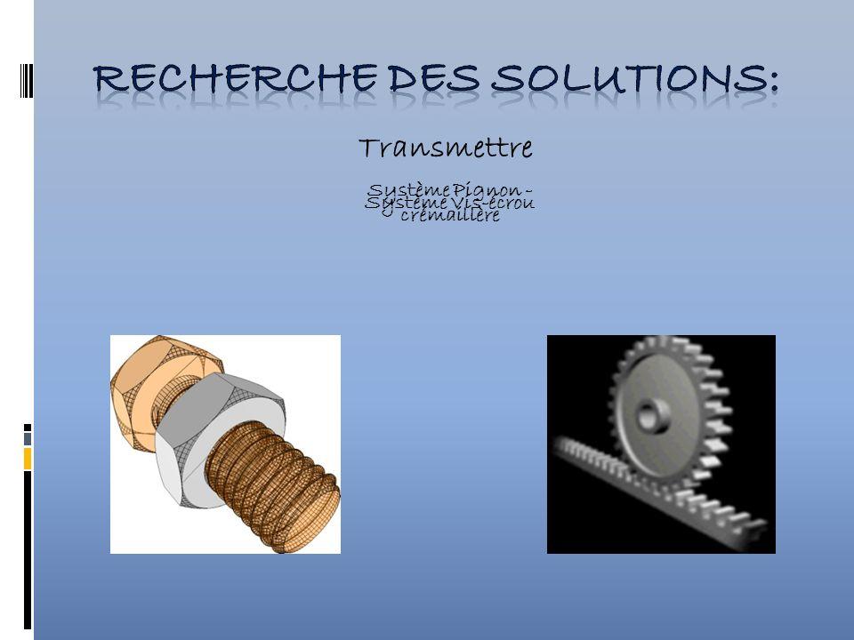 Recherche des solutions: Système Pignon -crémaillère