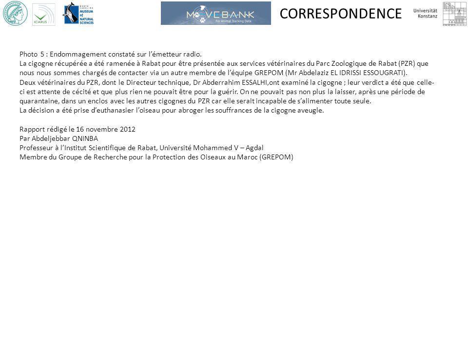 CORRESPONDENCE Photo 5 : Endommagement constaté sur l'émetteur radio.