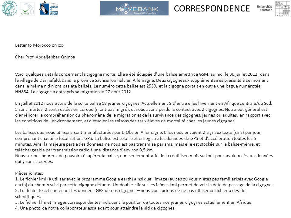 CORRESPONDENCE Letter to Morocco on xxx Cher Prof. Abdeljebbar Qninba