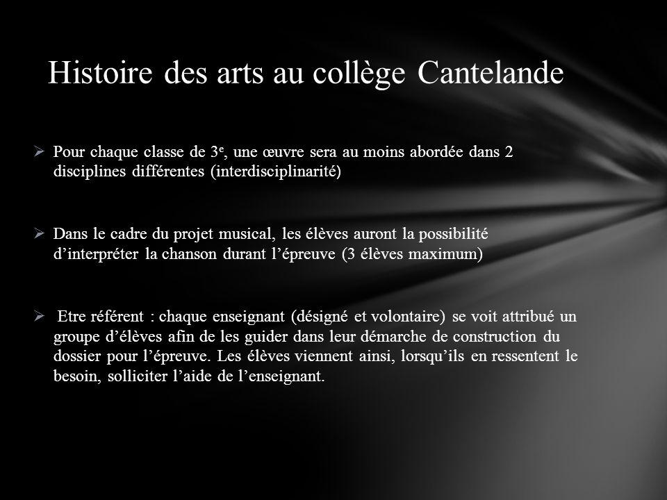 Histoire des arts au collège Cantelande