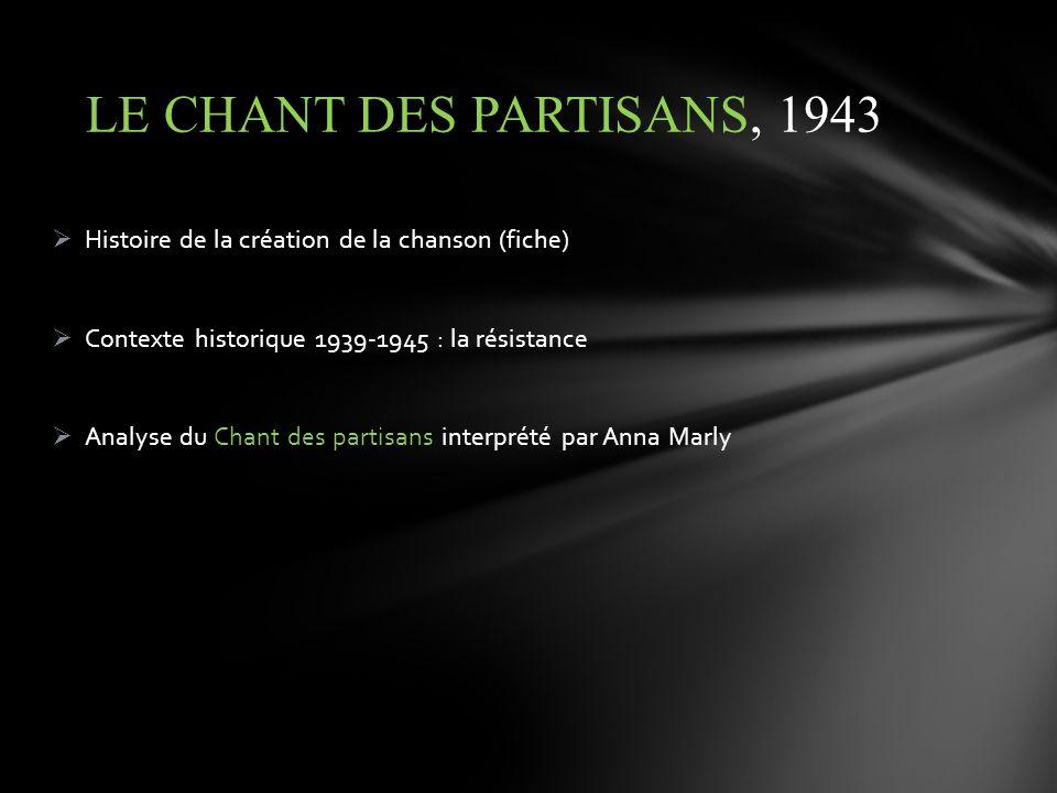 LE CHANT DES PARTISANS, 1943 Histoire de la création de la chanson (fiche) Contexte historique 1939-1945 : la résistance.