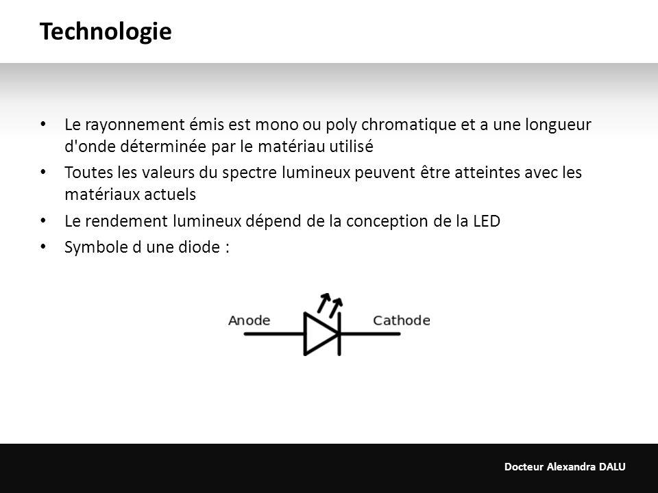 Technologie Le rayonnement émis est mono ou poly chromatique et a une longueur d onde déterminée par le matériau utilisé.