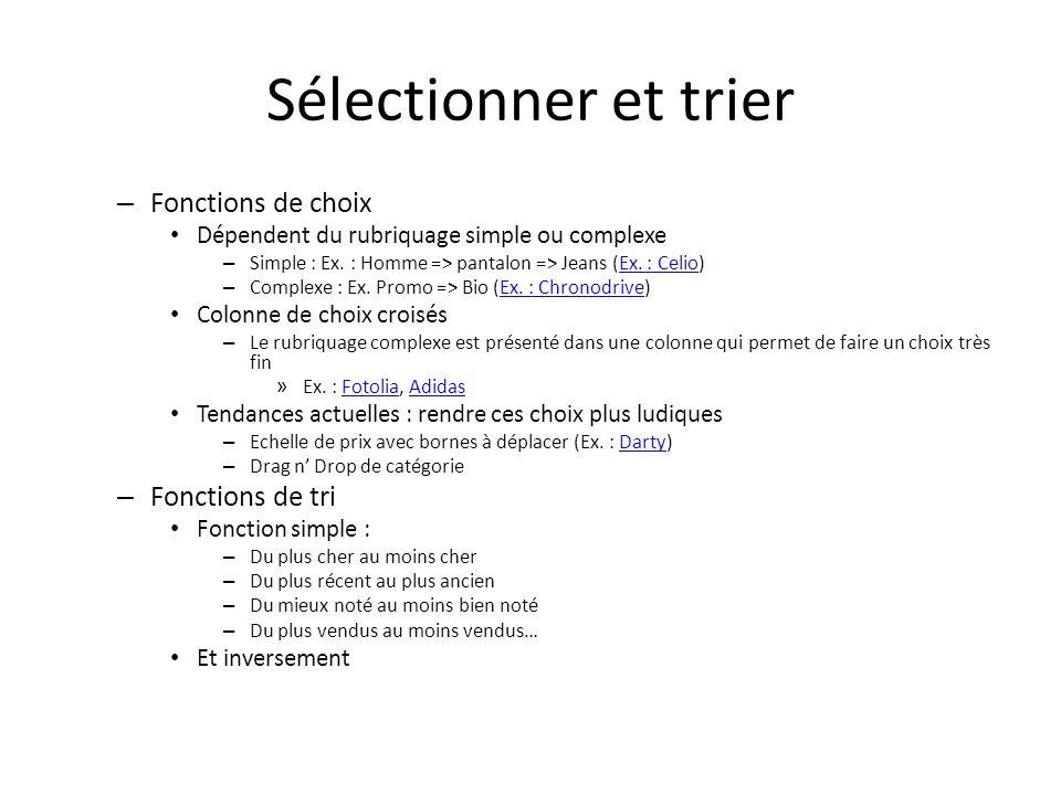 Sélectionner et trier Fonctions de choix Fonctions de tri