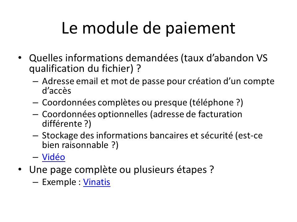 Le module de paiement Quelles informations demandées (taux d'abandon VS qualification du fichier)
