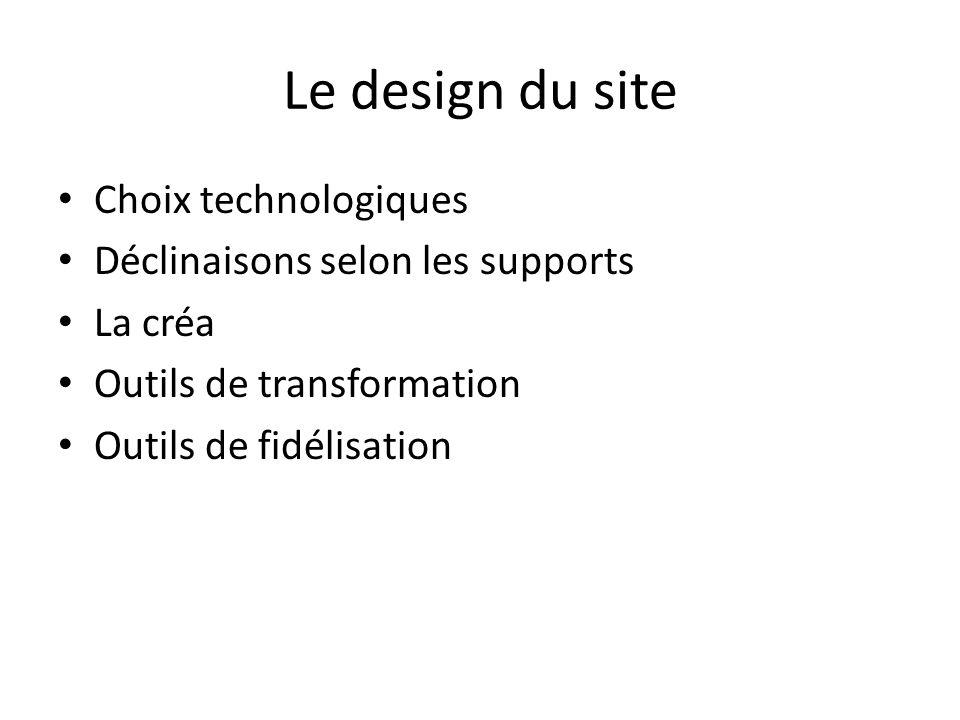 Le design du site Choix technologiques Déclinaisons selon les supports