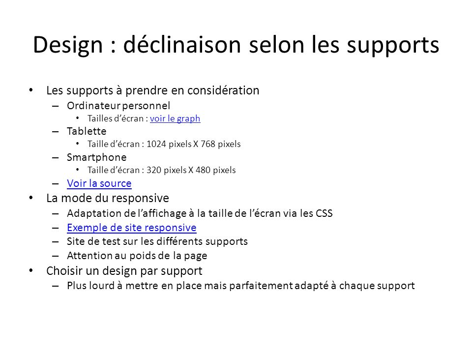 Design : déclinaison selon les supports