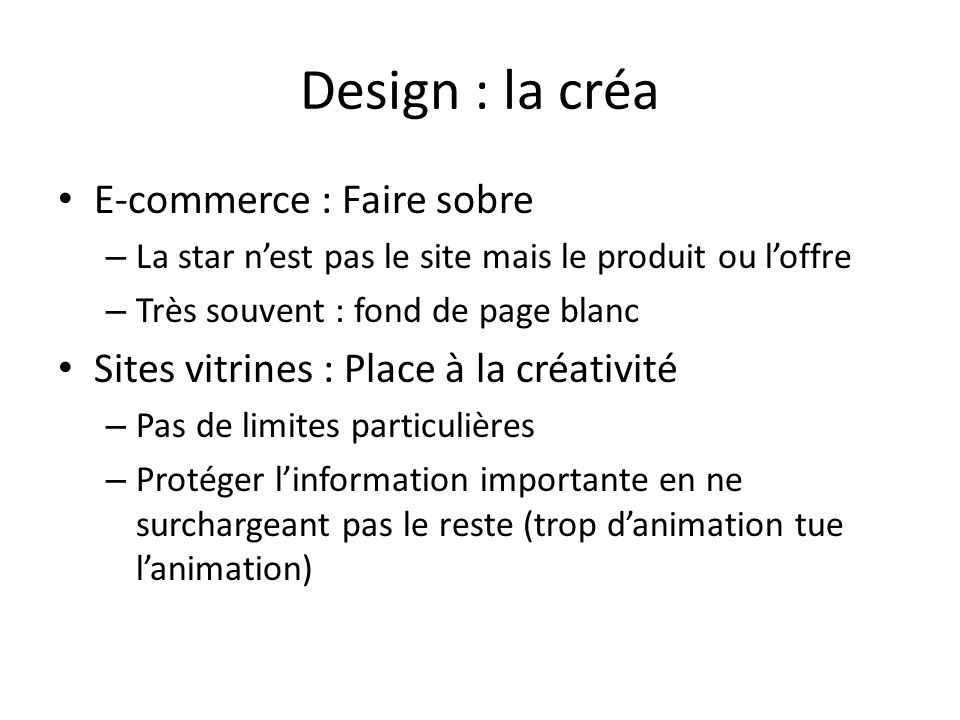 Design : la créa E-commerce : Faire sobre
