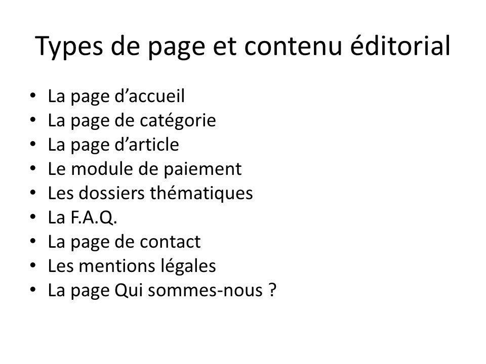 Types de page et contenu éditorial