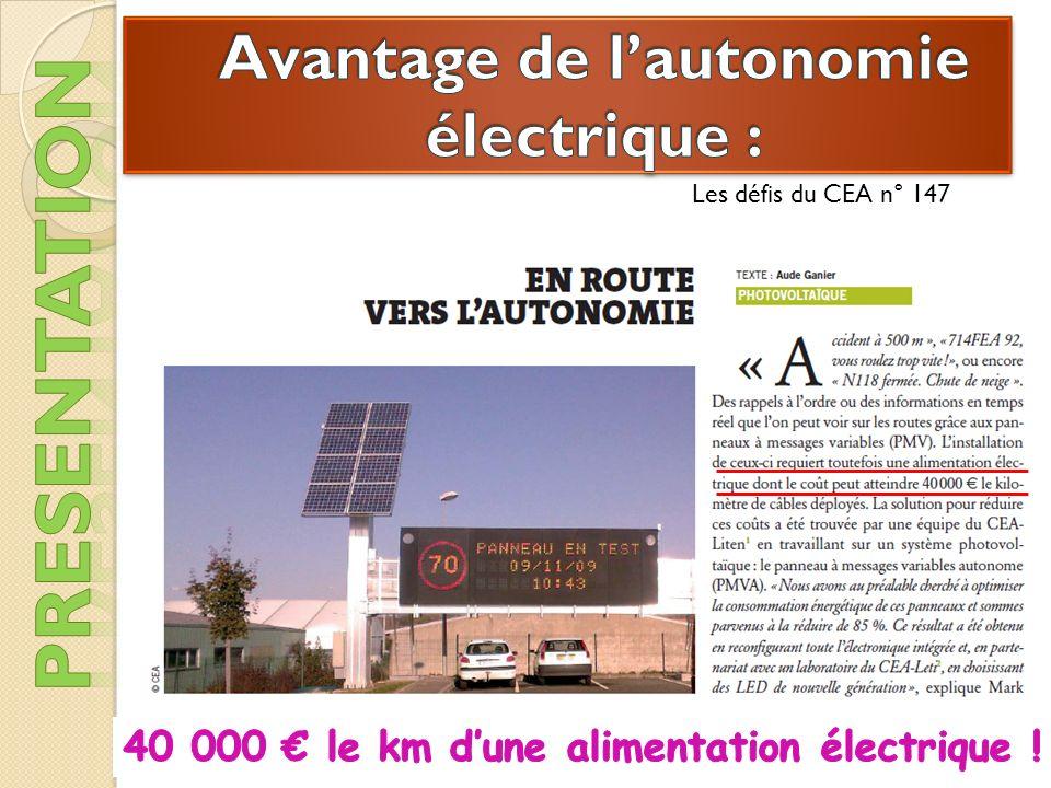 Avantage de l'autonomie électrique :