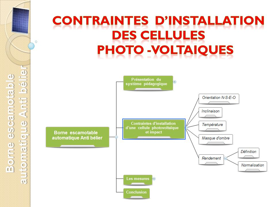 CONTRAINTES D'INSTALLATION Des CELLULES PHOTO -VOLTAIQUES