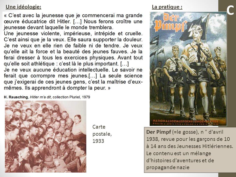 C Une idéologie: La pratique : Carte postale, 1933