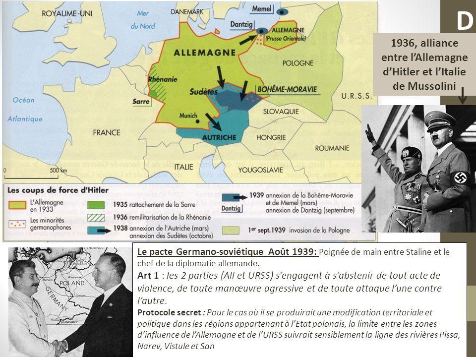 1936, alliance entre l'Allemagne d'Hitler et l'Italie de Mussolini