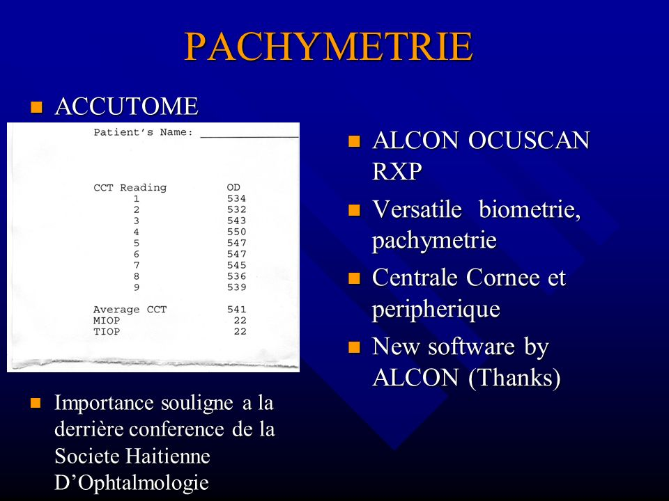 PACHYMETRIE ACCUTOME ALCON OCUSCAN RXP