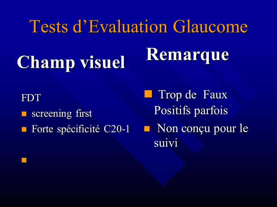 Tests d'Evaluation Glaucome