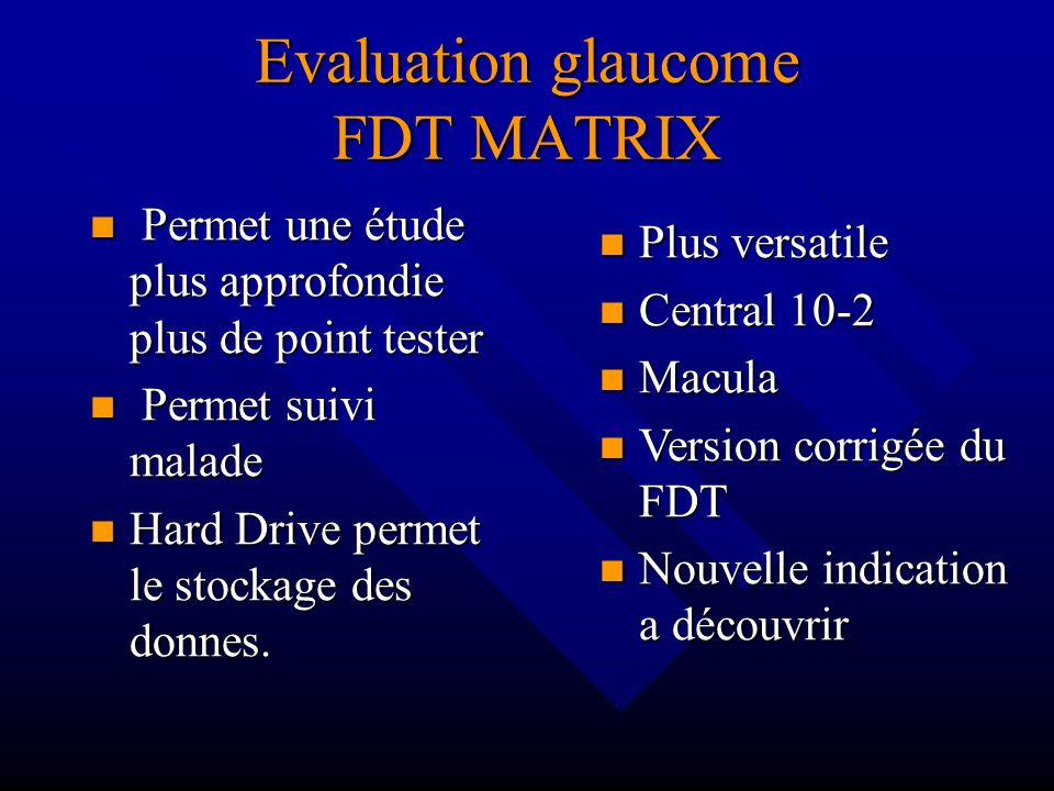 Evaluation glaucome FDT MATRIX