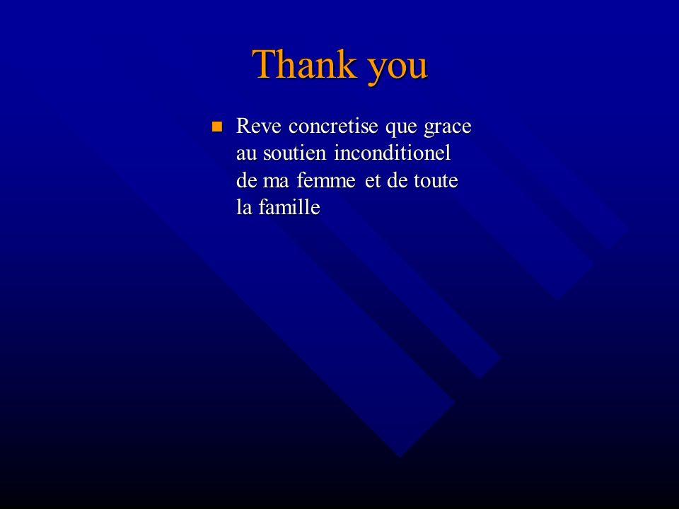 Thank you Reve concretise que grace au soutien inconditionel de ma femme et de toute la famille