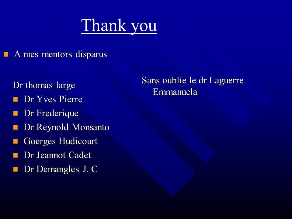 Thank you A mes mentors disparus Sans oublie le dr Laguerre Emmanuela