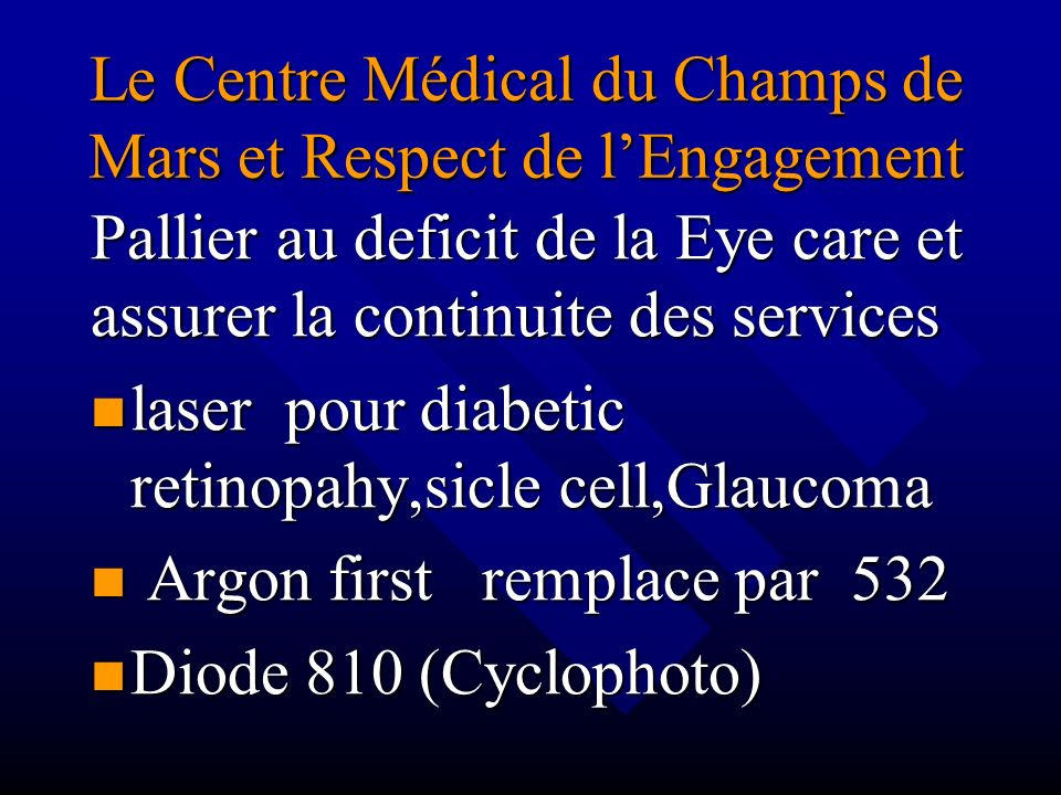 Le Centre Médical du Champs de Mars et Respect de l'Engagement