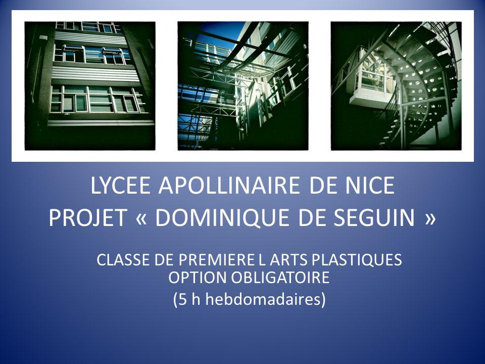 LYCEE APOLLINAIRE DE NICE PROJET « DOMINIQUE DE SEGUIN »