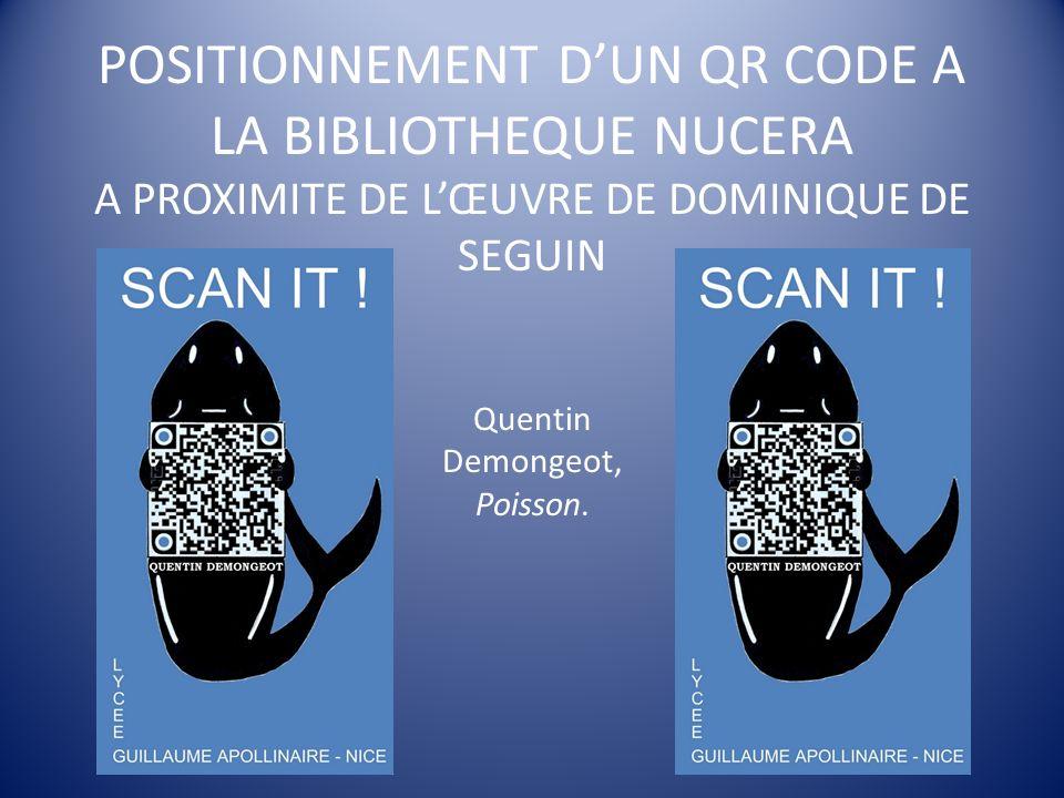 POSITIONNEMENT D'UN QR CODE A LA BIBLIOTHEQUE NUCERA A PROXIMITE DE L'ŒUVRE DE DOMINIQUE DE SEGUIN Quentin Demongeot, Poisson.