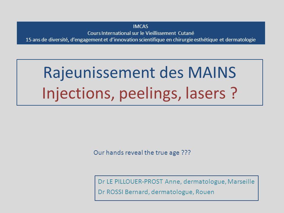 Rajeunissement des MAINS Injections, peelings, lasers