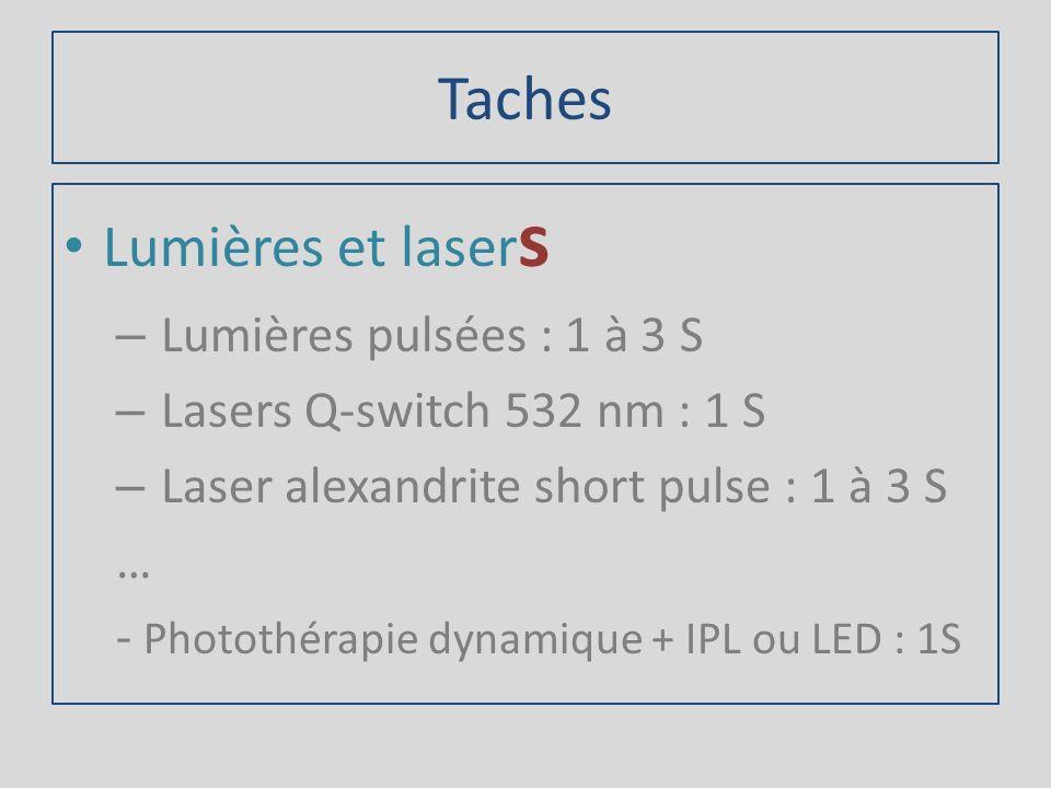 Taches Lumières et lasers Lumières pulsées : 1 à 3 S