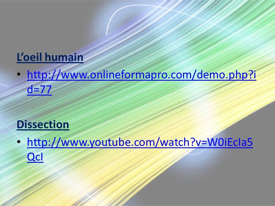 L'oeil humain http://www.onlineformapro.com/demo.php id=77.