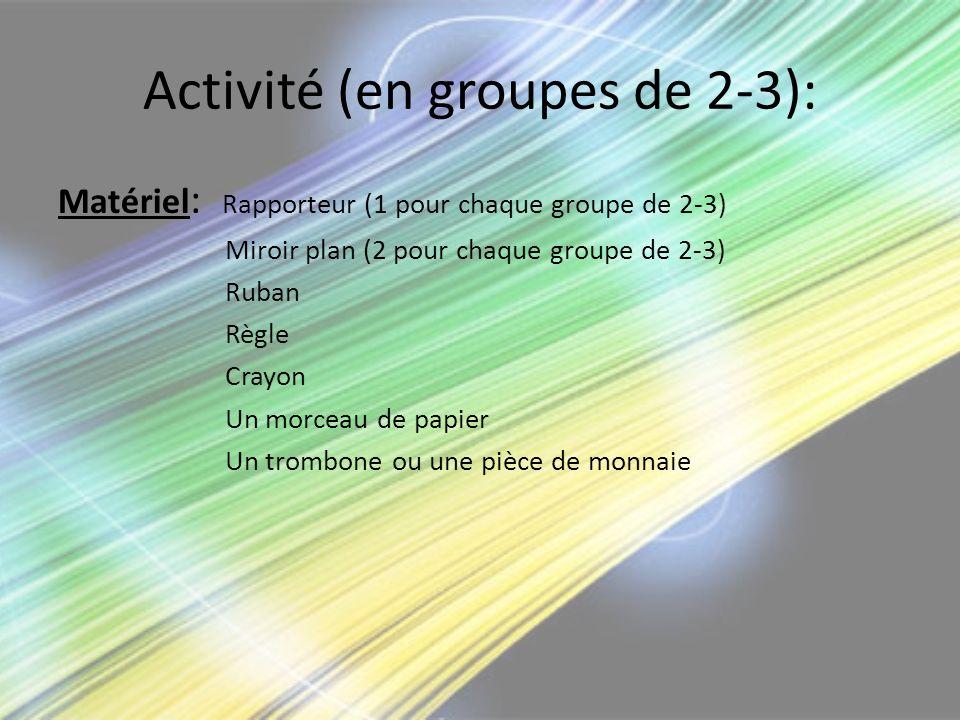 Activité (en groupes de 2-3):