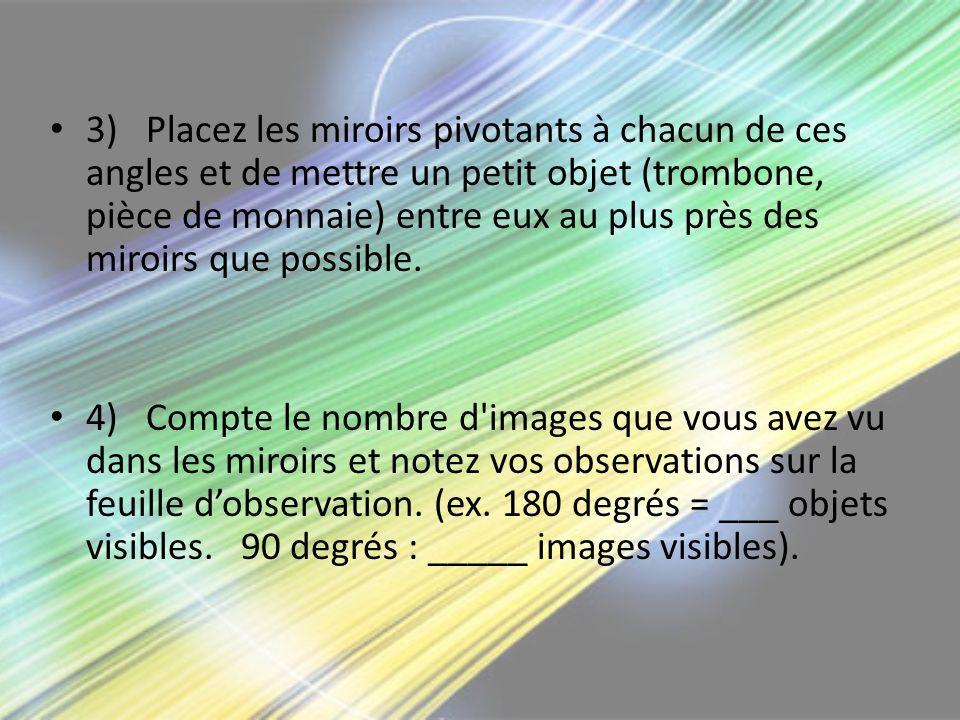 3) Placez les miroirs pivotants à chacun de ces angles et de mettre un petit objet (trombone, pièce de monnaie) entre eux au plus près des miroirs que possible.