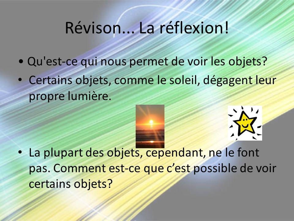 Révison... La réflexion! • Qu est-ce qui nous permet de voir les objets Certains objets, comme le soleil, dégagent leur propre lumière.