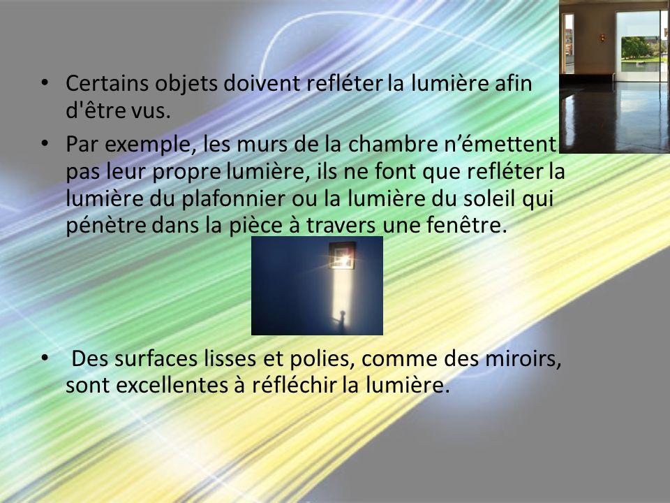 Certains objets doivent refléter la lumière afin d être vus.