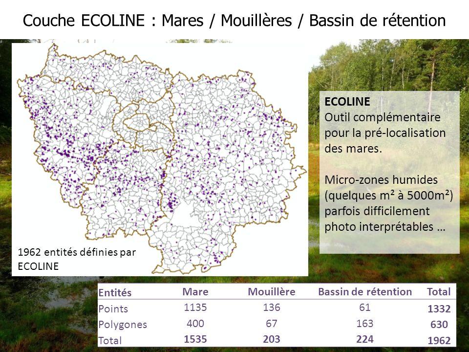 Couche ECOLINE : Mares / Mouillères / Bassin de rétention