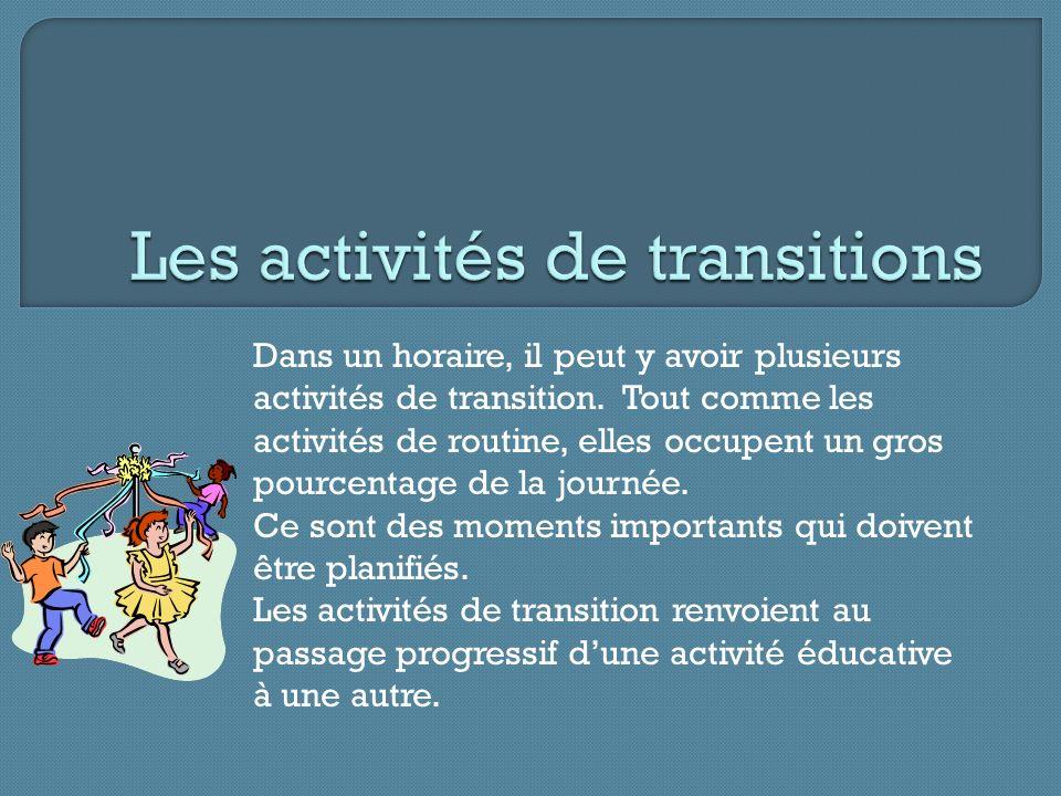 Les activités de transitions