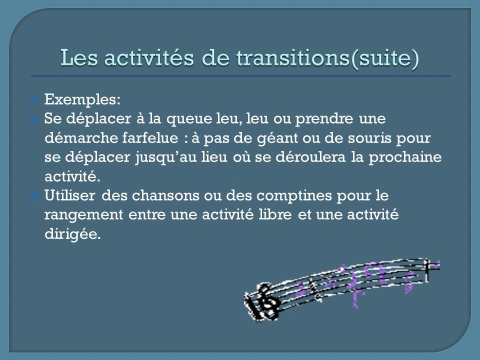 Les activités de transitions(suite)