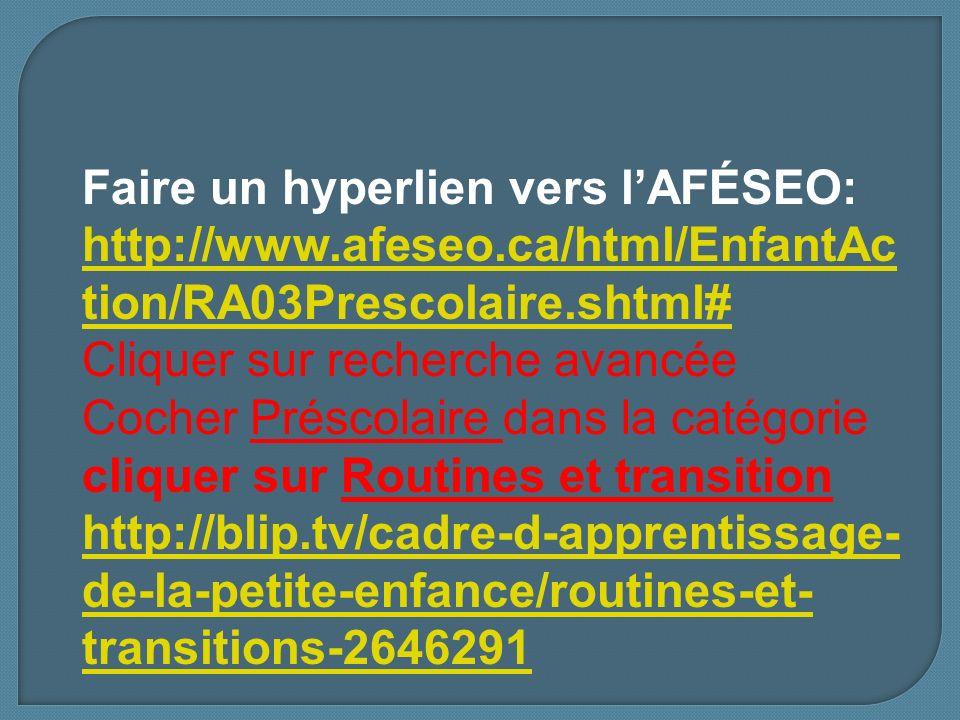 Faire un hyperlien vers l'AFÉSEO: http://www. afeseo