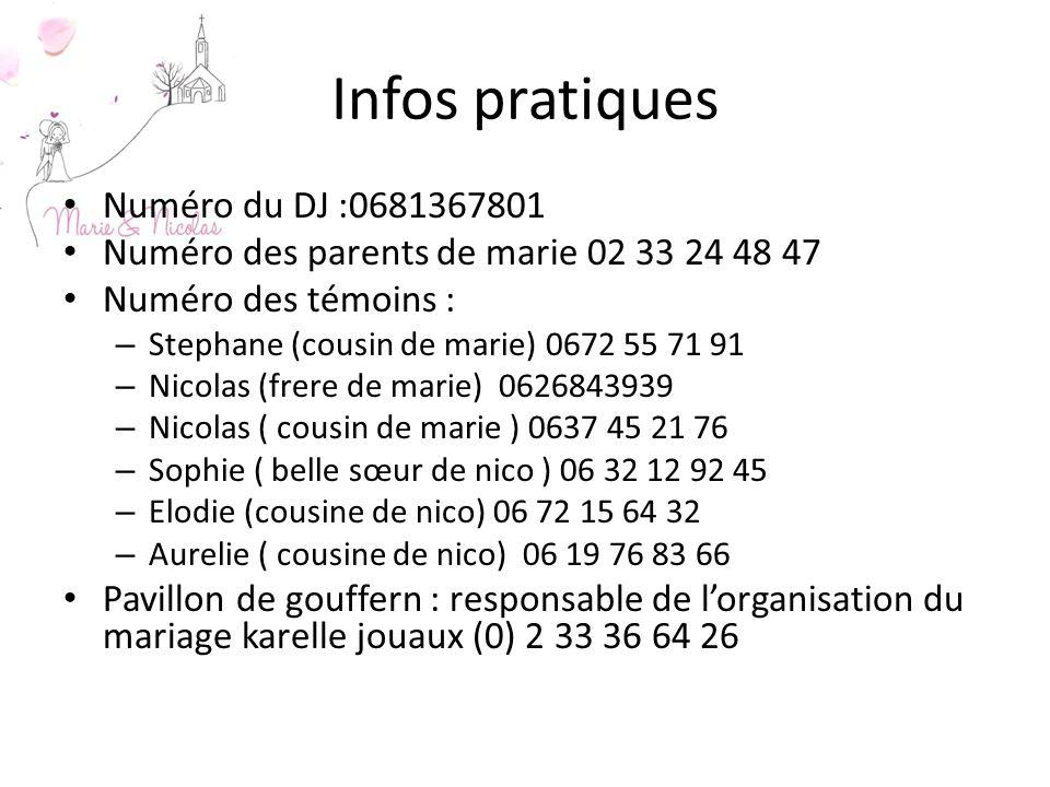 Infos pratiques Numéro du DJ :0681367801
