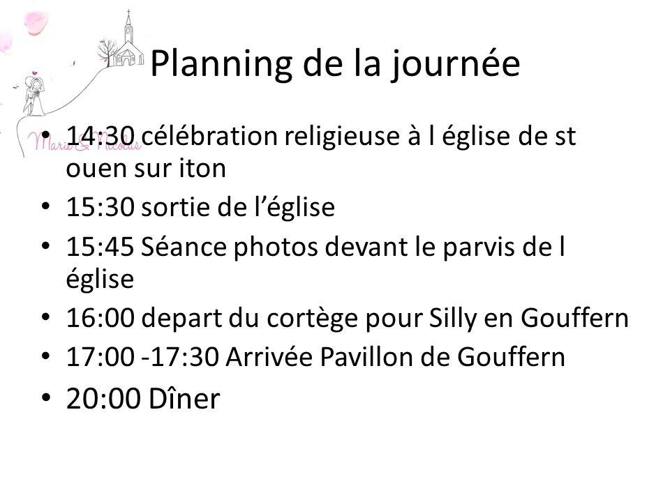 Planning de la journée 20:00 Dîner