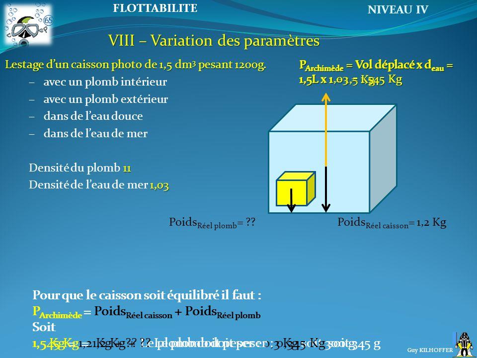 VIII – Variation des paramètres