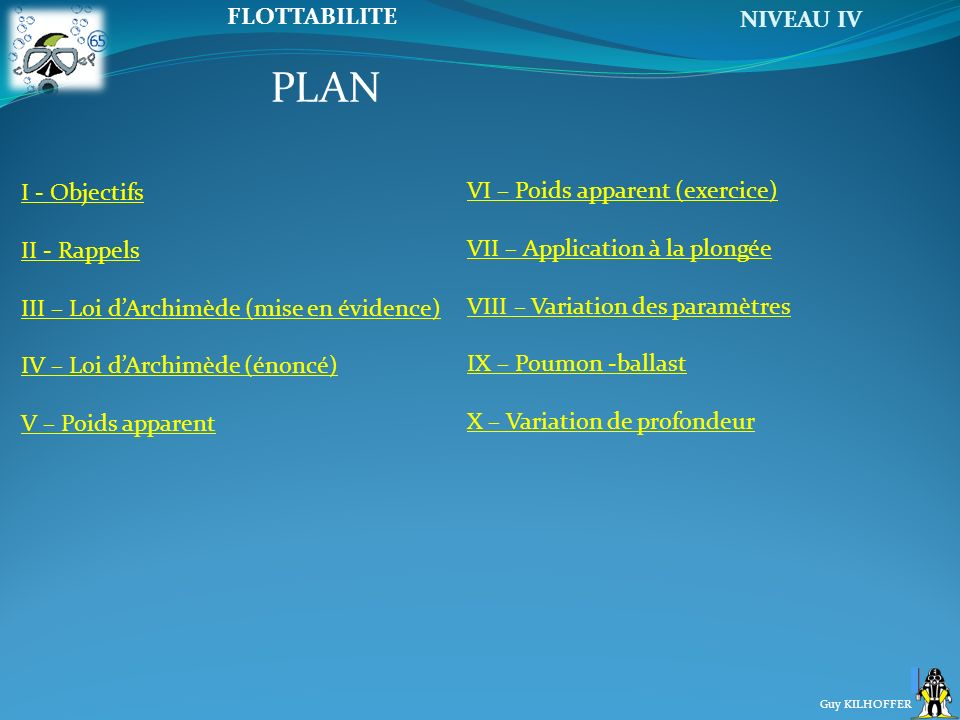 PLAN I - Objectifs VI – Poids apparent (exercice) II - Rappels