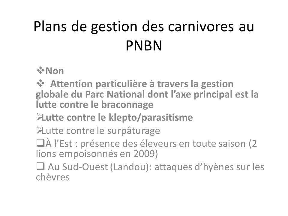 Plans de gestion des carnivores au PNBN