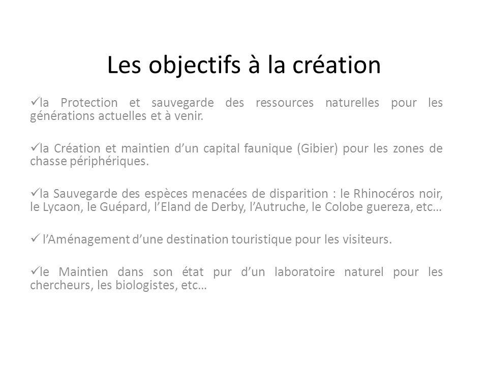 Les objectifs à la création
