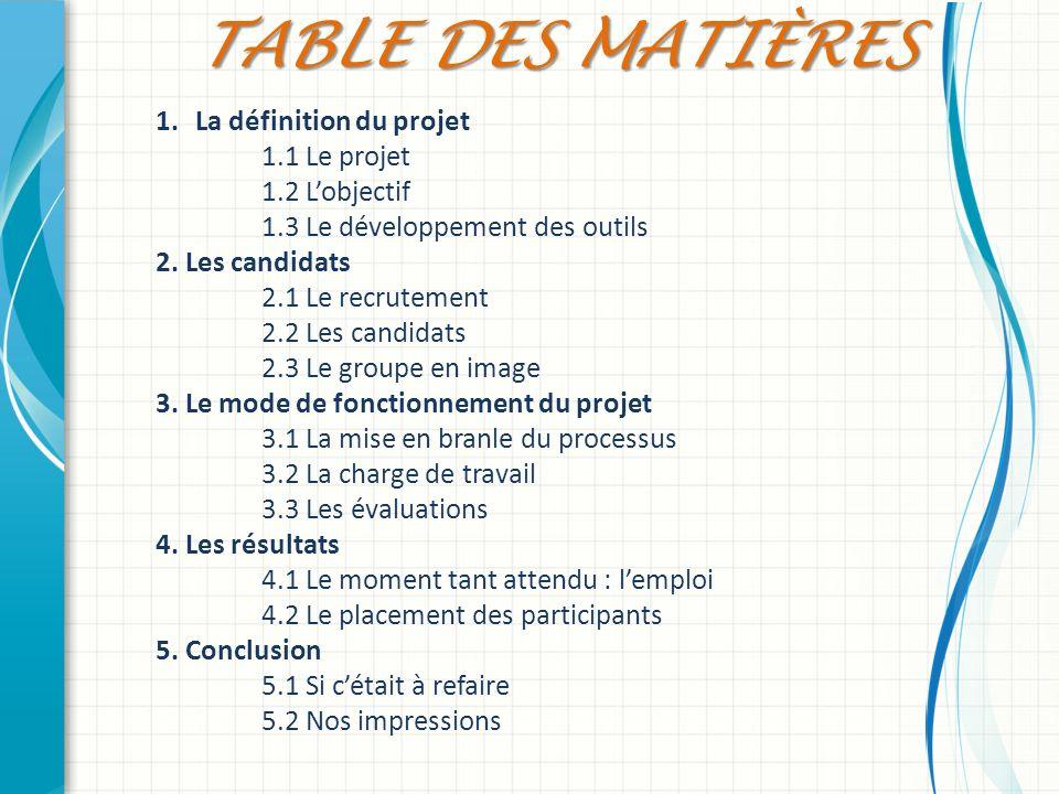 Table des Matières La définition du projet 1.1 Le projet