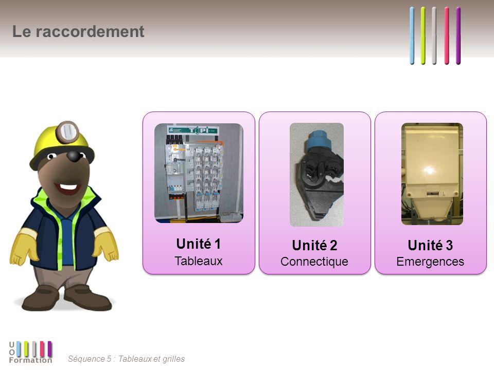 Le raccordement Unité 1 Tableaux Unité 2 Unité 3 Connectique